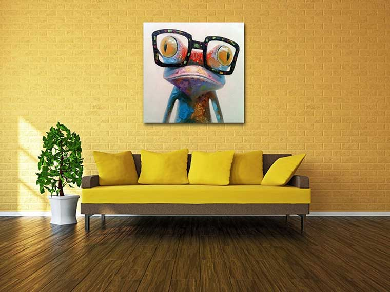 Frog Wearing Glasses Oil Painting on Canvas
