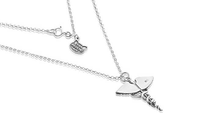 Sterling Silver Caduceus Symbol Necklace