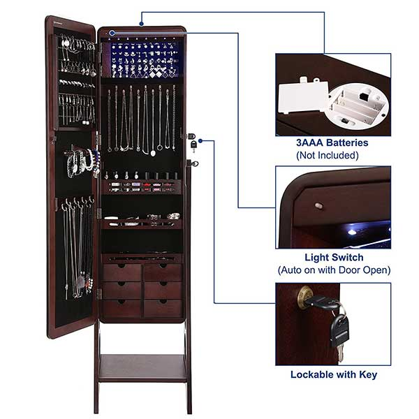 Lockable Free Standing Jewelry Cabinet with Full Length Mirror
