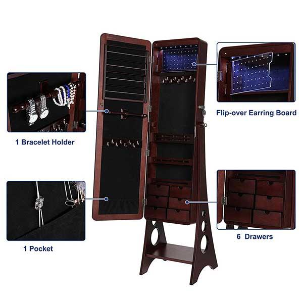 Mirror Jewelry Cabinet Combo