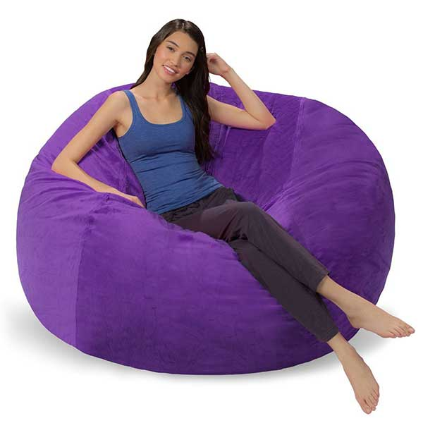 Purple Fuzzy Bean Bag Chair