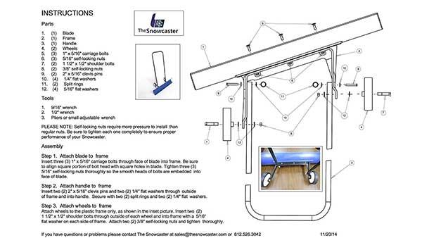Snowcaster Wheeled Snow Pusher Instructions