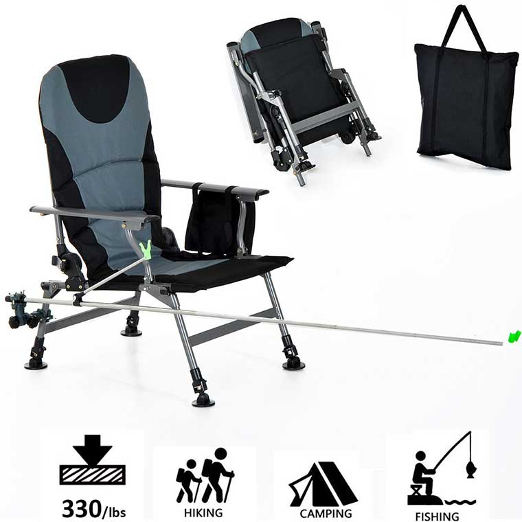 Fishing Chair with Pole Holder