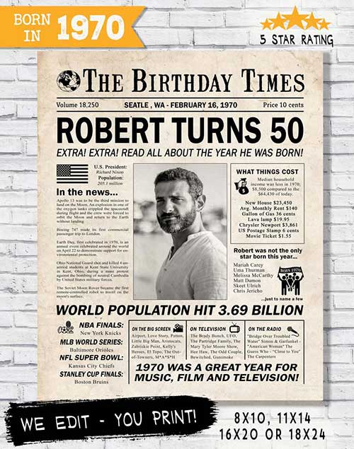 50th Birthday Newspaper