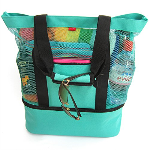 Beach Tote with Zipper and Insulated Cooler