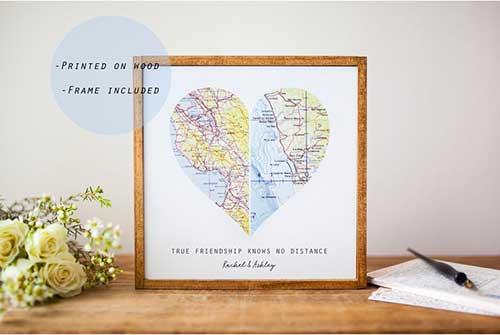 Best Friend Christmas Gifts Map Art