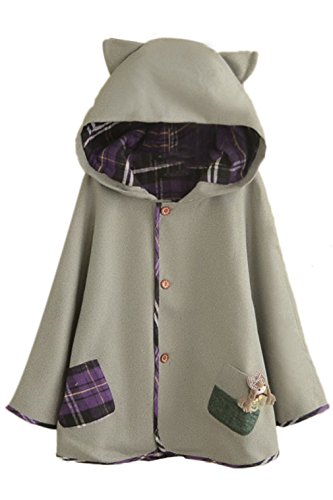 Button Down Tweed Cat Ears Hooded Cape