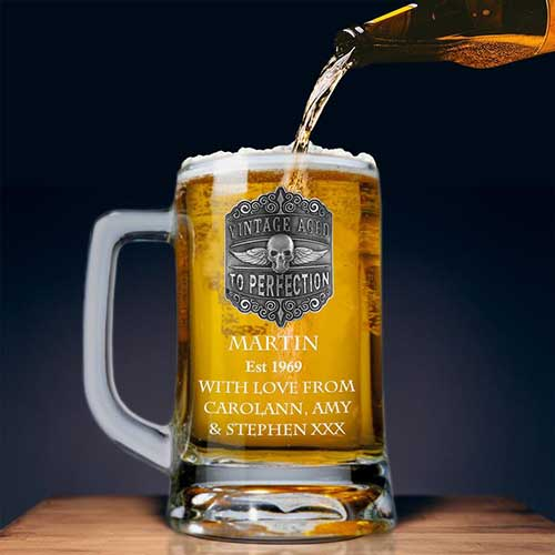 Engraved Beer Mug 50th Birthday