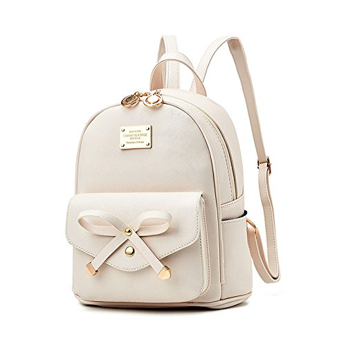 Girls Bowknot Leather Backpack and Mini Backpack Purse