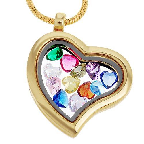 Golden Heart Floating Charm Necklace