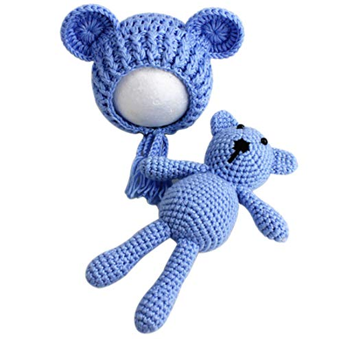 Newborn Infant Crochet Knit Toy Bear and Hat