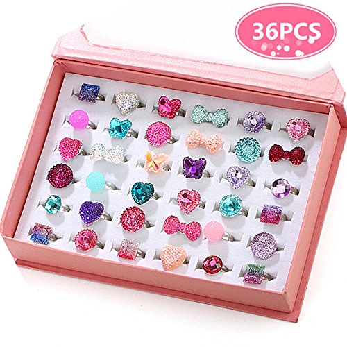 PinkSheep Little Girl Jewel Rings in a Box