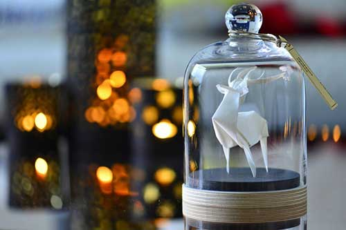 Sculpture Origami Deer under Glass Dome