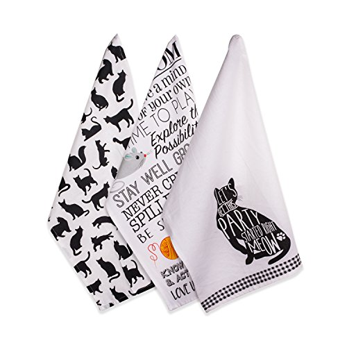 Set of Three Cat Kitchen Dish Towels
