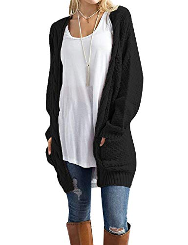 Traleubie Womens Open Front Long Sleeve Boho Boyfriend Knit Chunky Cardigan Sweater