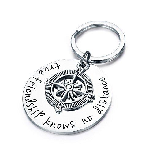 True Friendship Knows No Distance Compass Keychain