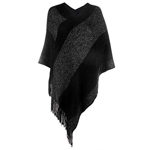 Womens Elegant Knitted Shawl Poncho with Fringed V-Neck