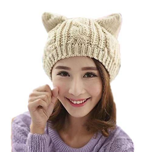 Woollike Knitted Kitty Ears Crochet Hats