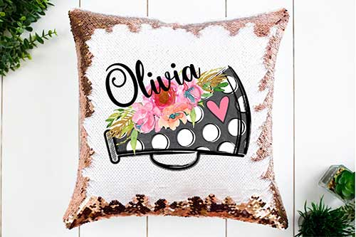 Cheer Sequin Personalized Pillow