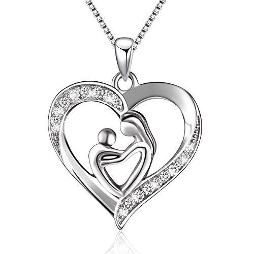 BLOVIN 925 Sterling Mother and Child Heart Pendant Necklace