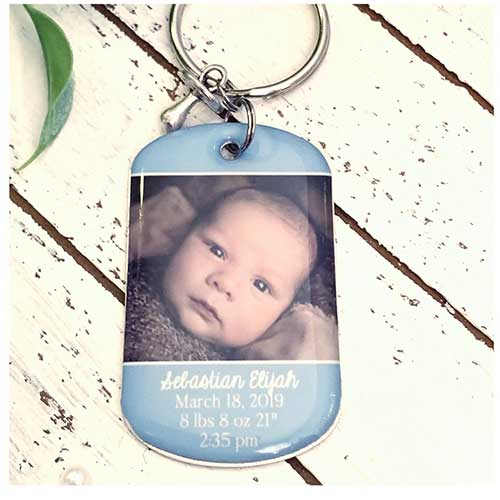 Birth Announcement Photo Keychain