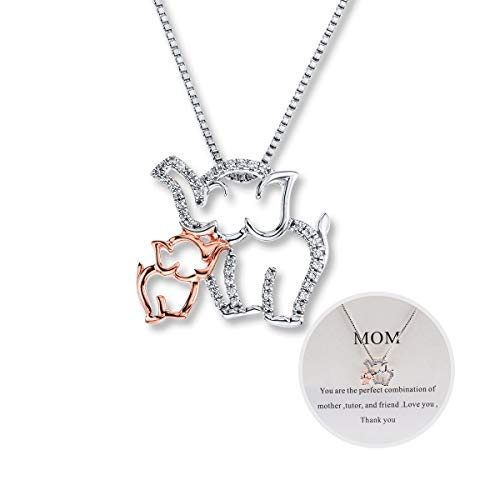 Eluckday Mom and Baby Elephant Necklace