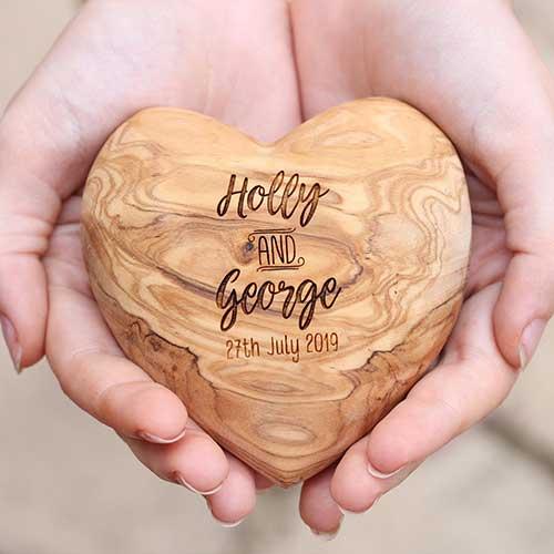 Engaged Olive Wood Heart