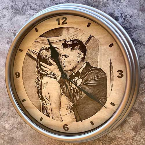 Engraved Wooden Clock