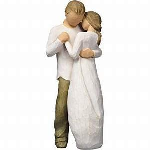 Hand Sculpted Bride and Groom Figurine
