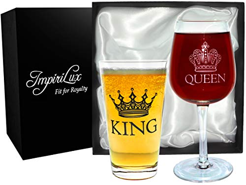 King and Queen Beer and Wine Glass Set