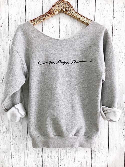 Mama Off Shoulder Sweatshirt