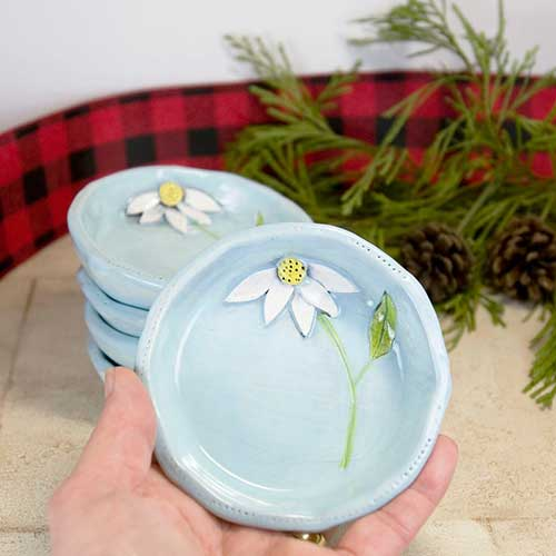 Pottery Dish With 3D Flowers