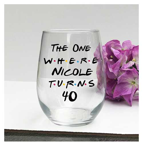 FRIENDS TV Show Glass With Personalized Message