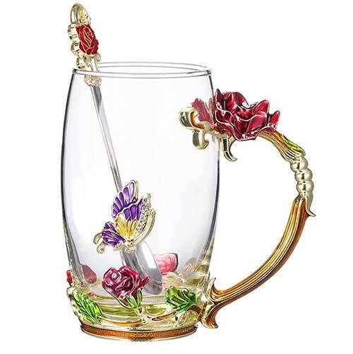 Flower Glass Tea Mug