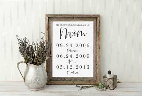 Mother of the Bride with Printed Dates
