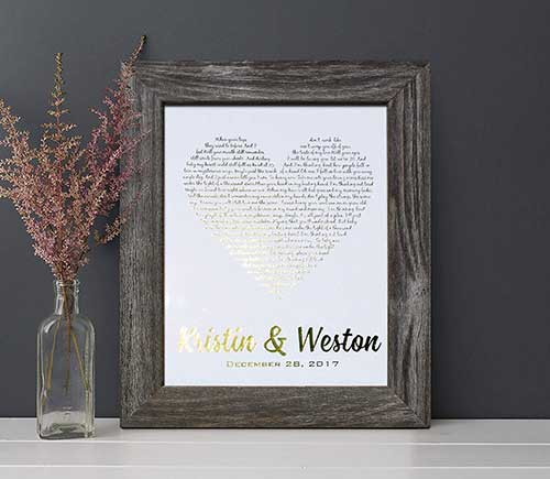 Personalized First Anniversary Song Print