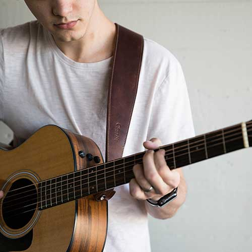 Personalized Leather Acoustic Guitar Strap