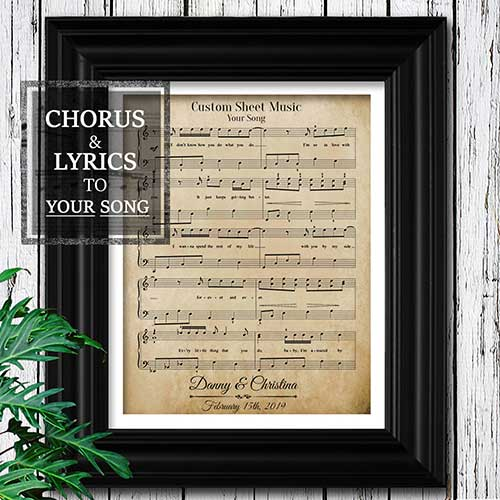 Personalized Wedding Song Sheet Music Art