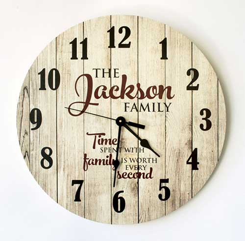 Rustic Clock With Personal Inscription