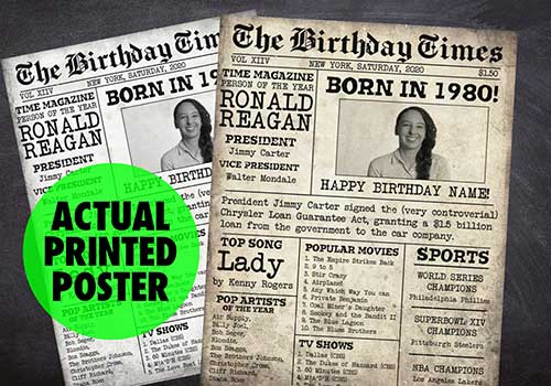 The Birthday Times Fake Newspaper Poster