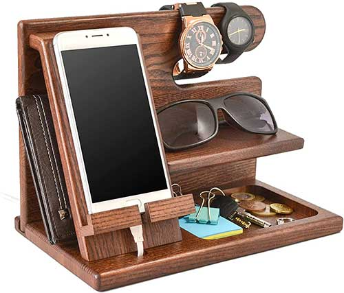 Wood Phone Docking Station Organizer