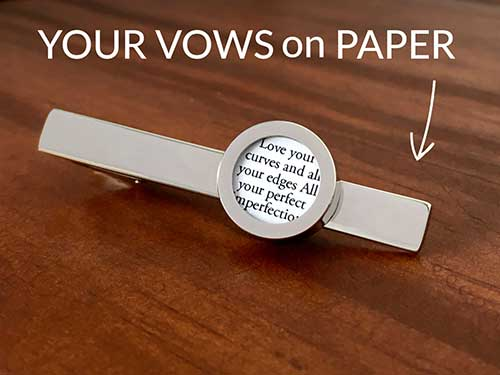 Your Wedding Vows on Paper Personalized Tie Clip and Cufflinks