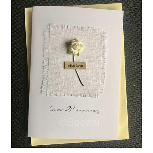2nd Anniversary Cotton Card Keepsake