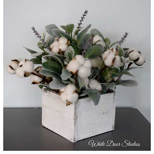 Cotton and Lambs Ear Arrangement