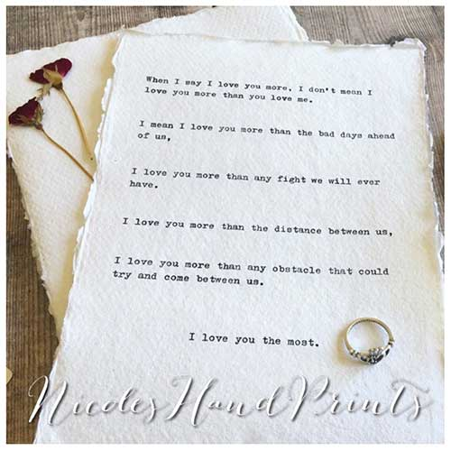 Hand Typed Poetry on Handmade Paper