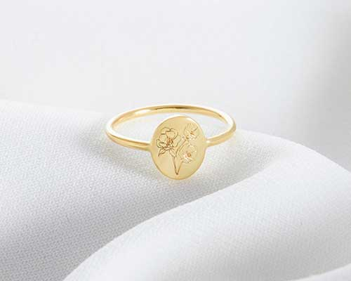 Personalized Birth Flower Ring