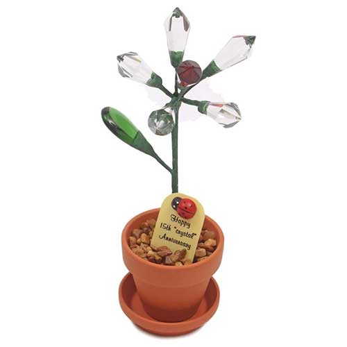 15th Anniversary Potted Crystal Desk Rose