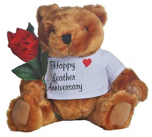 3rd Leather Anniversary Teddy Bear