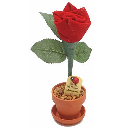 3rd Year Wedding Anniversary Leather Rose