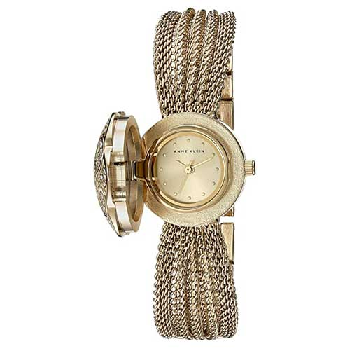Anne Klein Crystal Accented Mesh Bracelet Watch